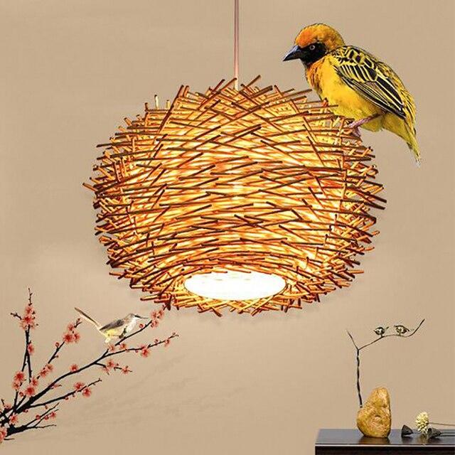 Art déco led fait à la main bine pendentif lumières en osier bois suspendus lumière 220