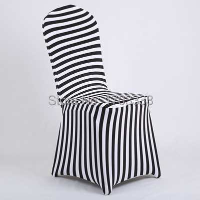 Wholesale black and white stripe print spandex chair cover for Cheap black and white prints