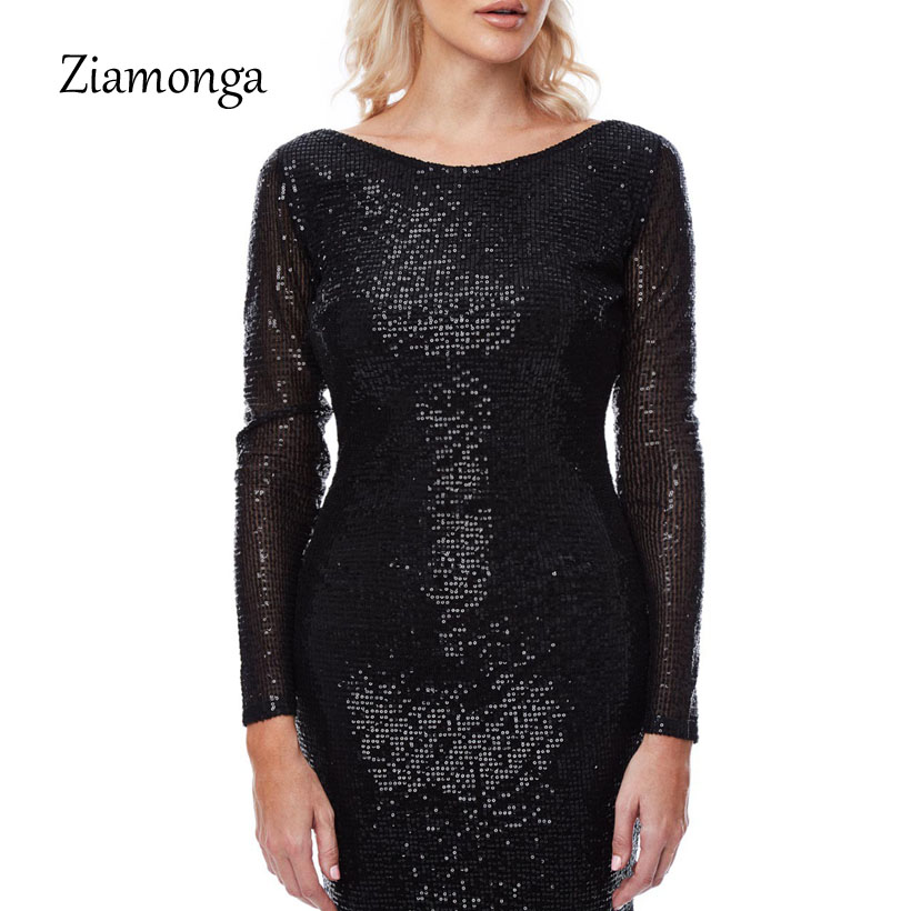 5aa0e24cb149f US $20.52 12% OFF Ziamonga 2018 Sexy O Neck Blackless Sequin Dresses Long  Sleeve Mermaid Sequined Maxi Dress Floor Length Evening Party Dress Gown-in  ...