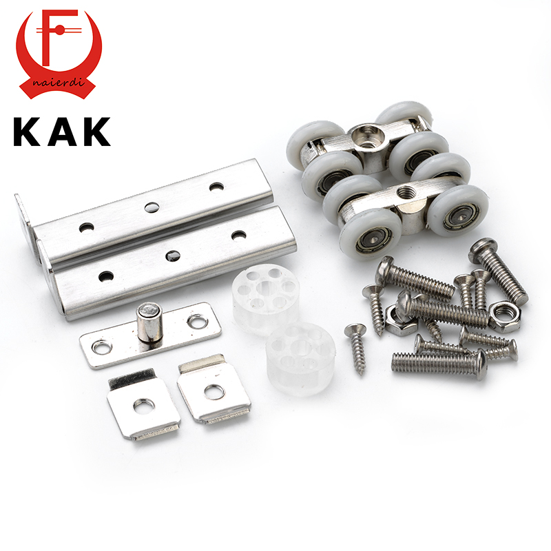 KAK Stainless Steel Sliding Door Roller Bear 30KG Home Room Wardrobe Wood Door Hanging Wheels For Furniture Hardware Wheel