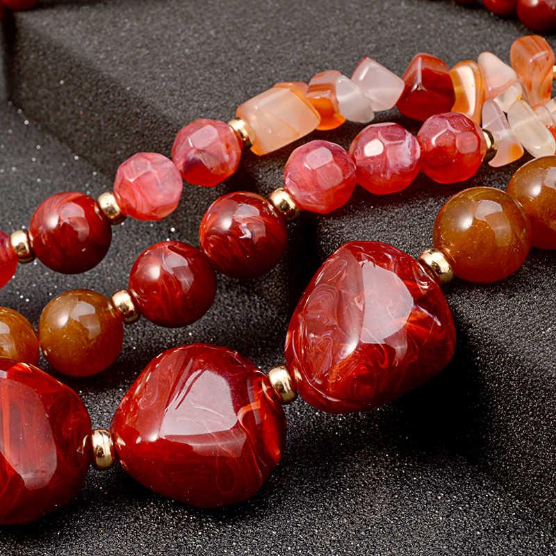 UDDEIN naszyjnik z koralików/kolczyki zestaw plastikowy klejnot wielowarstwowe Chokers akcesoria ślubne koraliki afrykańskie zestaw biżuterii