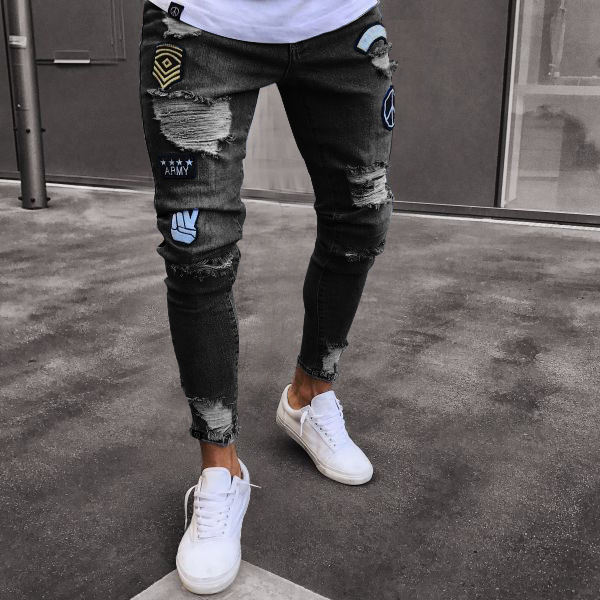 Hole Embroidered Jeans Slim Men Trousers New Men's Casual Thin Summer Denim Pants Classic Cowboys Young Man Black Blue #4