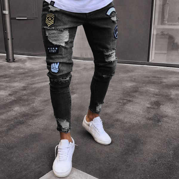 dc6c53ec7a hole embroidered jeans Slim men trousers NEW 2019 men's Casual Thin Summer  Denim Pants Classic Cowboys Young Man black blue