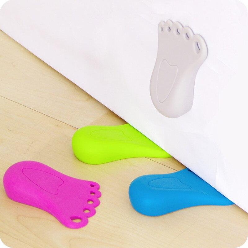 New wind Door Feet Shaped Rubber Doorstops Stop Stopper doorstops Baby anti-pinch safety ...