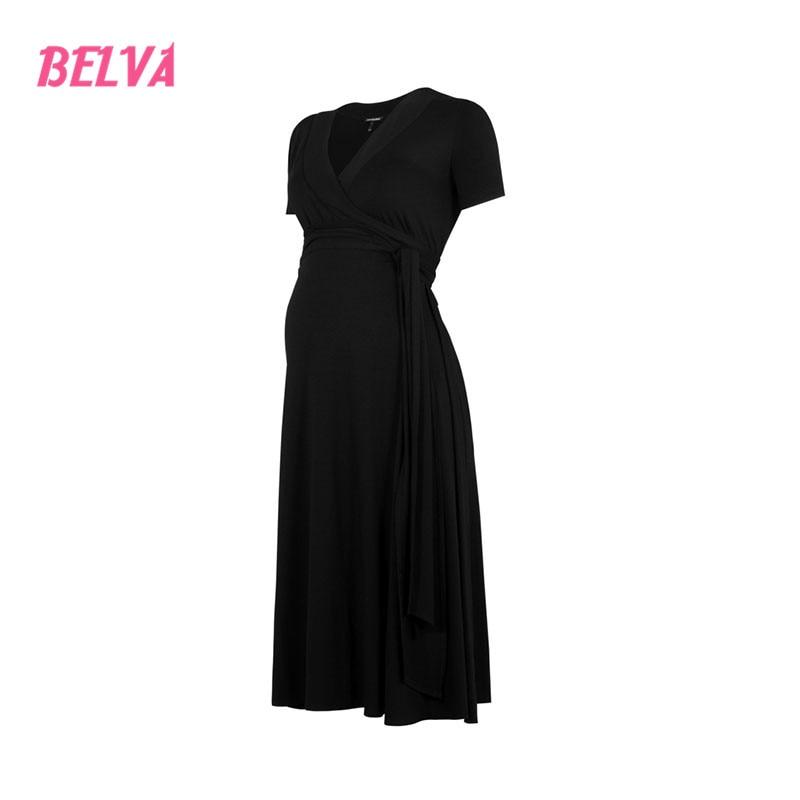 207285bb4f9 Belva Comfortable Bamboo Fiber woman pregnancy clothes Black maternity dress  for photo shoot pregnant clothing sale DR186