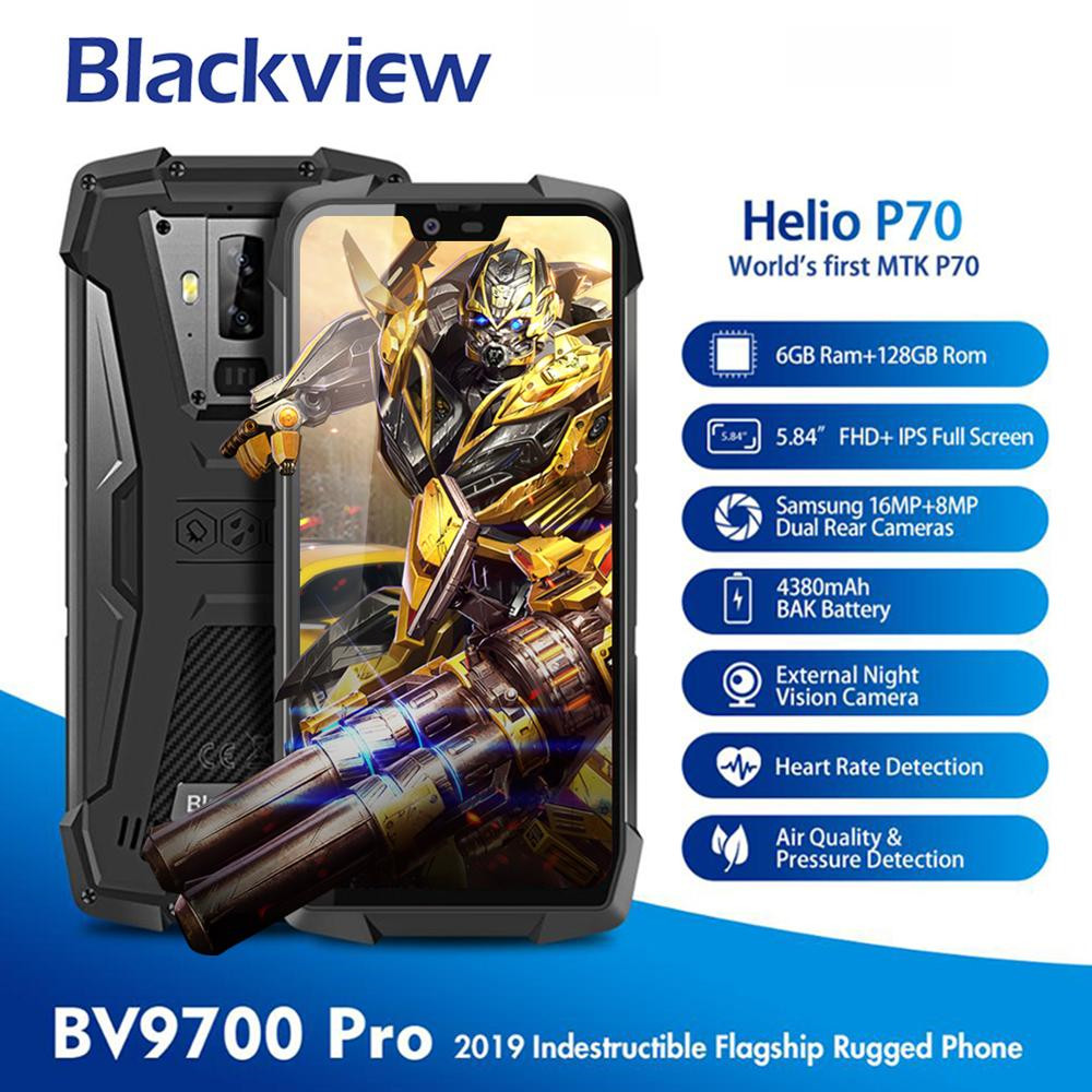 Blackview BV9700 Pro Helio P70 6GB+128GB Android 9.0 Smartphone 16+8MP Night Vision Dual Camera IP68 Waterproof Mobile Phone