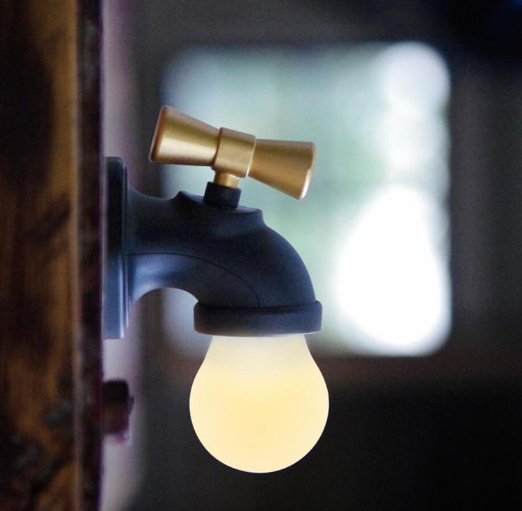 Retro faucet night light intelligent sound sensor usb chargeable night lights corridor aisle led cabinets lights