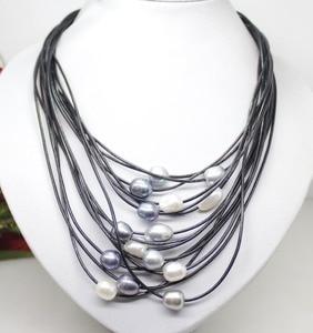 10-12 мм настоящий белый серый черный пресноводный жемчуг кулон ожерелье кожаный шнур Магнит Застежка модные ювелирные изделия