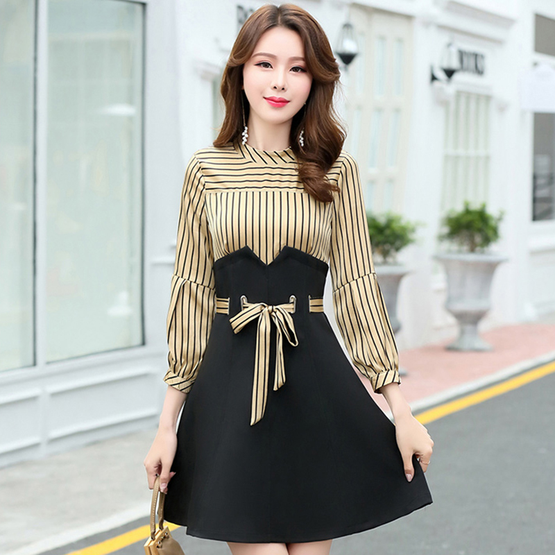 Lady Patchwork Nw1171 O Striped Office Black 2019 orange Dress Women neck Mini Tide New Fashion Spring line yellow A 4Zn11WvX