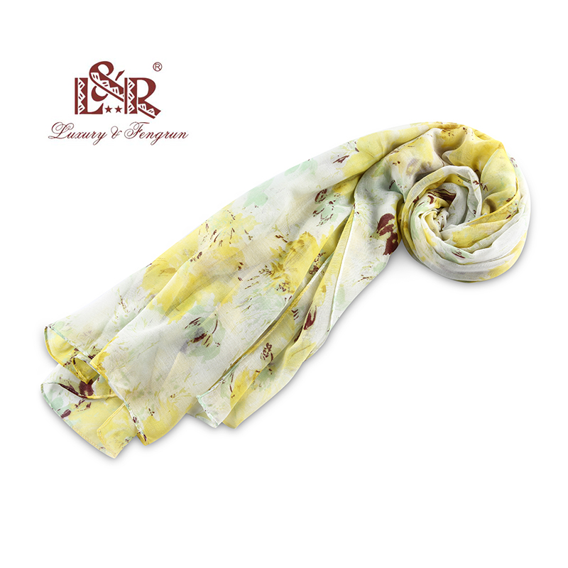 Fashion Women Silk Chiffon Scarf Female Luxury Brand Yellow Flower Hijab Silky Satin Shawl Scarf Foulard Head Scarves Wraps 2018