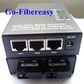 2FX-3TX WDM 10 / 100 Mbps fibra óptica Media Converter monomodo de fibra de 3 UTP RJ-45 conector de 2 SC