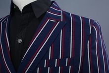 PYJTRL Brand Men's Fashion Blue Stripe Blazer Pants Two Piece Groomsmen Wedding Suit Mens Suits Latest Coat Pant Designs 2018