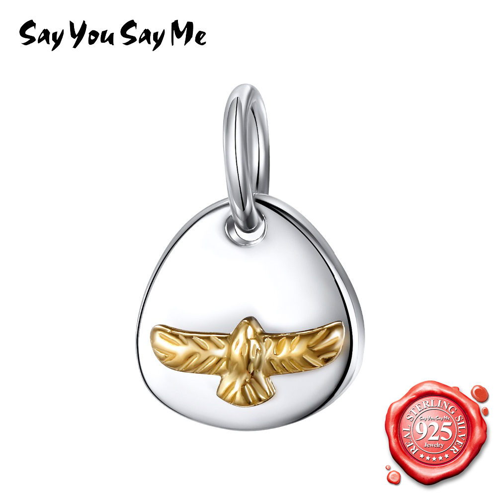 SAY YOU SAY ME 925 Sterling Silver Oval Pendant Necklaces
