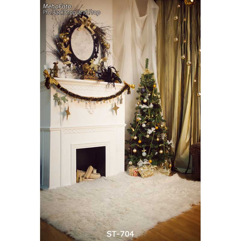 Christmas background vinyl photography backdrops Computer Printed christmas fire place tree and Gift box for Photo studio ST-704 edt vinyl photography background snowflake christmas star computer printed children photography backdrops for photo studio 150