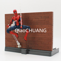 SHFiguarts Spider Man Homecoming Tamarshii Option Act Wall Spiderman PVC Action Figure Collectible Model Toy 15cm