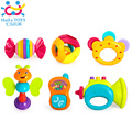 6 Piece Baby Rattle Toy Gift Set with Mirror, Bells & Instruments Huile Toys 939
