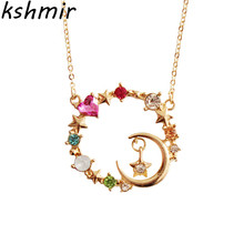 2018 fashion necklace of stars the moon wreath female charm necklace Necklace delicate pendant Necklace party gift ball green hollow moon full of stars necklace