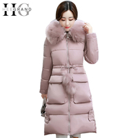 HEE GRAND Winter Coat Women Jacket Parkas Fur Collar Elegant Overcoat Long Snow Coats Autumn Warm
