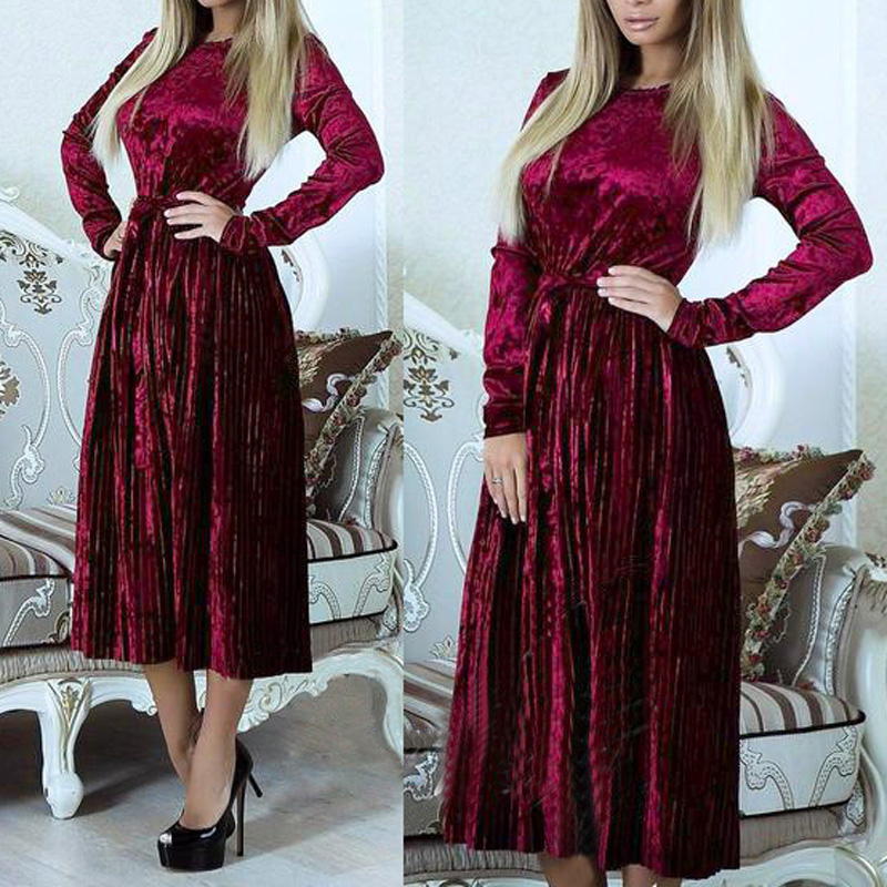Модные зимние Для женщин Дамы с длинным рукавом Вельветовое платье Вечерние вечернее платье Рождество