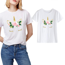 LUSLOS Women Floral Unicorn T-shirt Female Summer Short Sleeve Tshirt Casual Streetwear Clothes Gilrs Tops