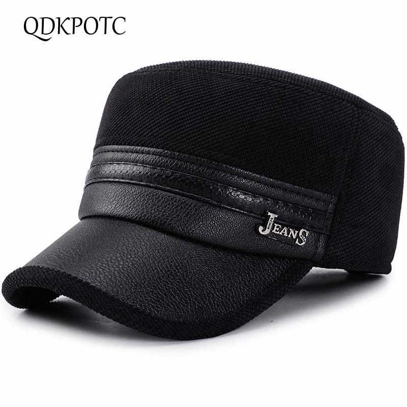 QDKPOTC 2018 nuevo invierno sombreros para hombres gorra militar con  orejeras sombrero ejército marinero capitán gorras 27abff035fd