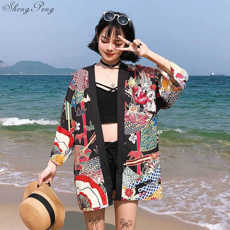Kimonos woman 2019 японское кимоно кардиган косплей рубашка блузка для женщин японская юката женское летнее пляжное кимоно V1400