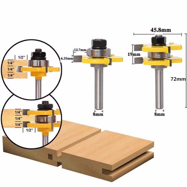 8mm Shank 3 Teeth T Type Milling Cutter Knife Wood Router Bit Set