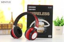 S110 red Hi-Res estéreo super bass sem fio bluetooth fone de ouvido com microfone FM rádio TF cartões de jogo