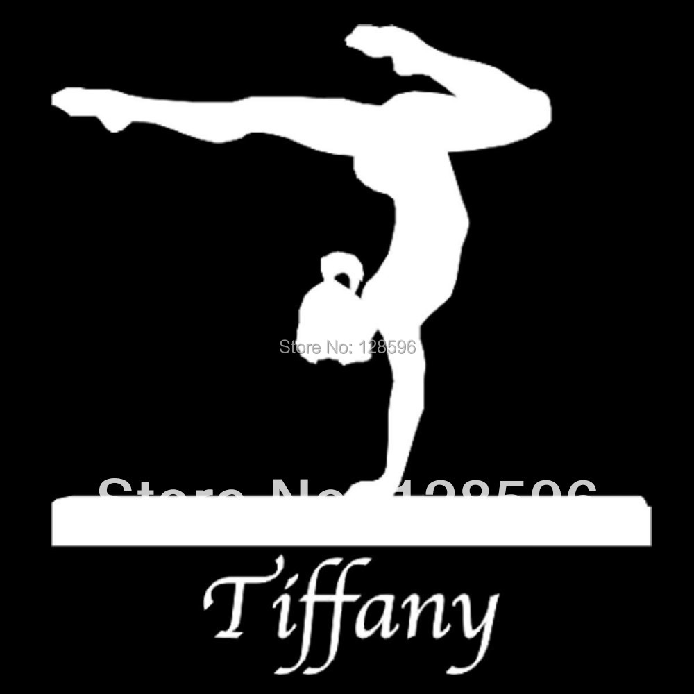 Custom Vinyl Girl Gymnast On Balance Beam With Name Car Window - Custom vinyl car window decal sticker