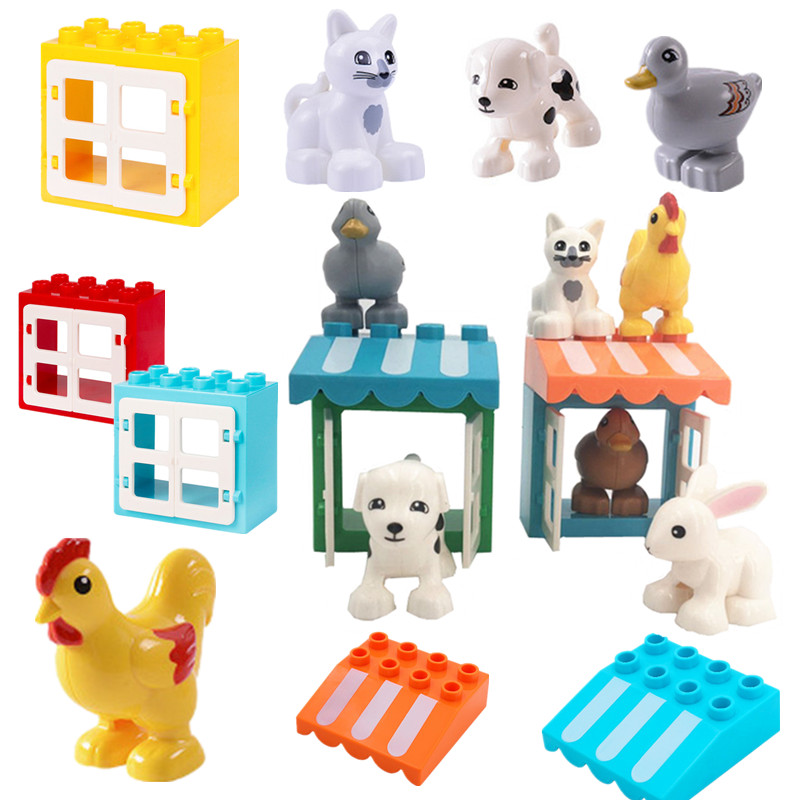 Farm Animals Chicken Duck Cat Dog Accessories Building Blocks Baby Toys For Children Compatible With L Brand Duploed Parts