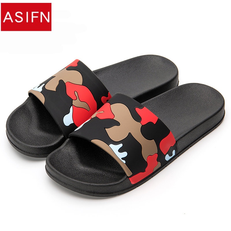 ASIFN Men Slippers Camo Home Slides Bathroom Summer Casual Style Shoes Non-slip Sandals Sapato Masculino Flip Flops