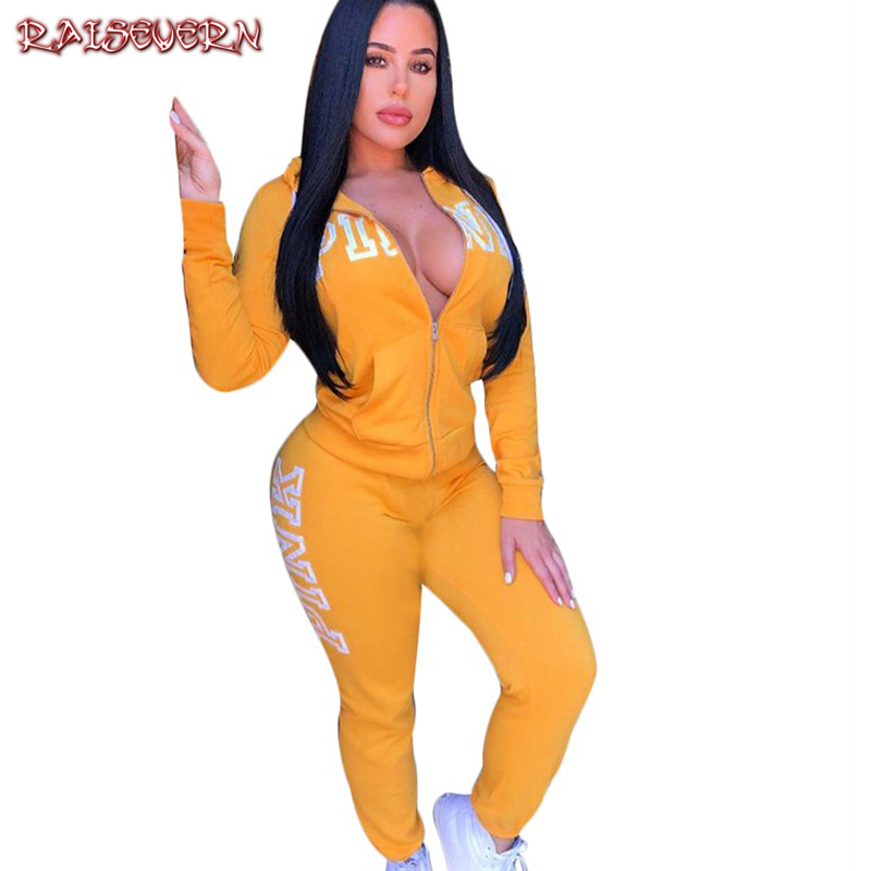 RAISEVERN Hoodies Set Women Spring Autumn Pink Letters 2 Pieces Female Soft Practice Hoodies And Casual Pants Coat Zipper 2019