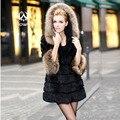 Nova Natureza Rabbit Fur casaco com chapéu de pele de coelho mulheres casaco chapéu de guaxinim casaco de pele do inverno personalizado tamanho grande Frete grátis F100