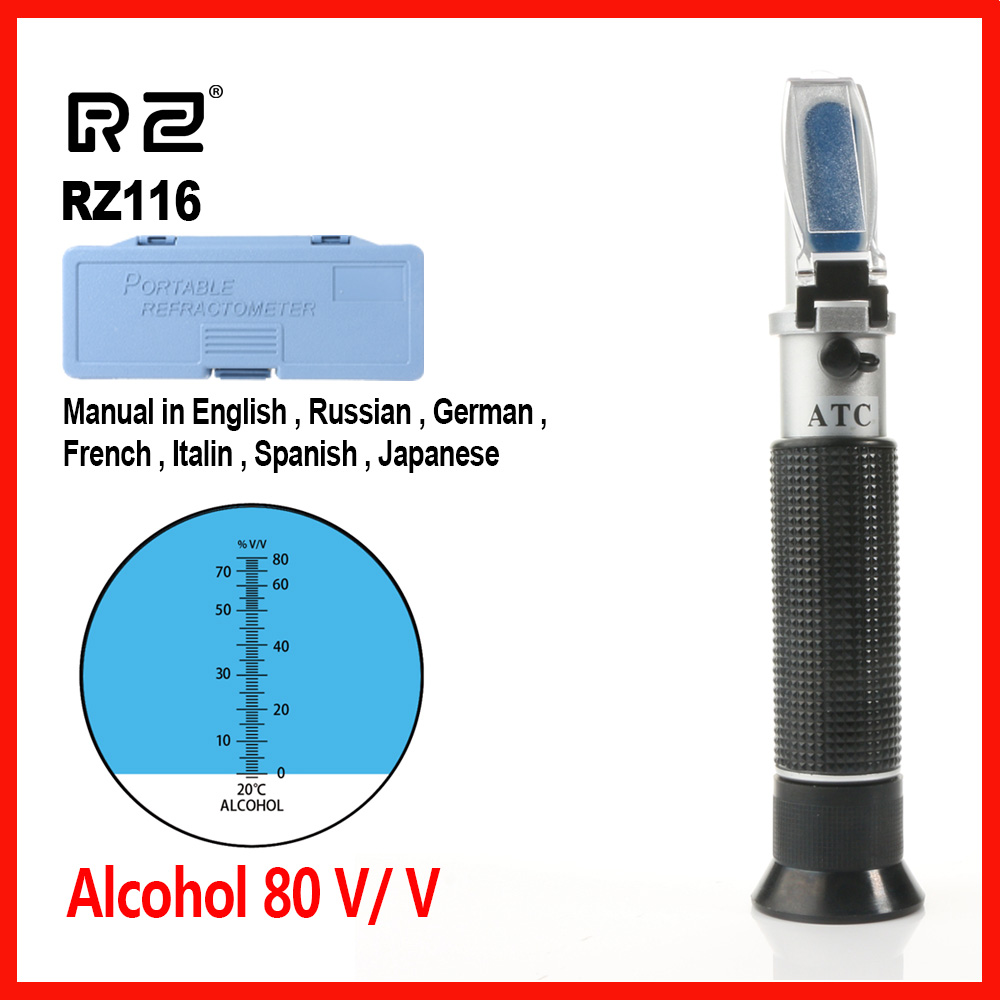 RZ Refraktometer Alkohol Alkoholometer meter Hydrometer konzentration geistern tester wine0 ~ 80% V/V ATC Handheld Werkzeug RZ116