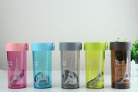 350ML Eiffel Tower Water Bottle Fruit Juice Tea Milk Cups Portable Sports Camping Cycling AS Plastic
