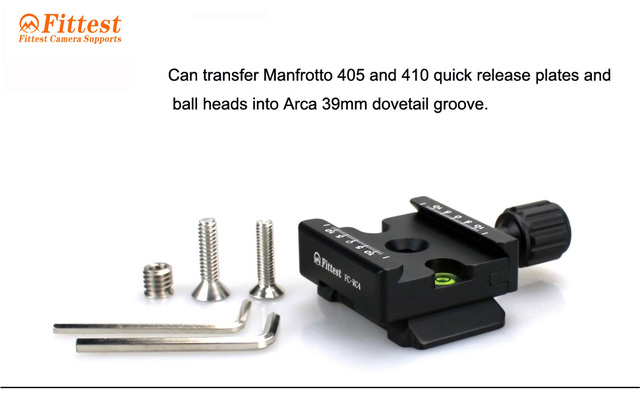 FITTEST DAC-01 Universal Quick Release Clamp Manfrotto 405 and 410 Adapter for Arca-Swiss 39mm dovetail groove