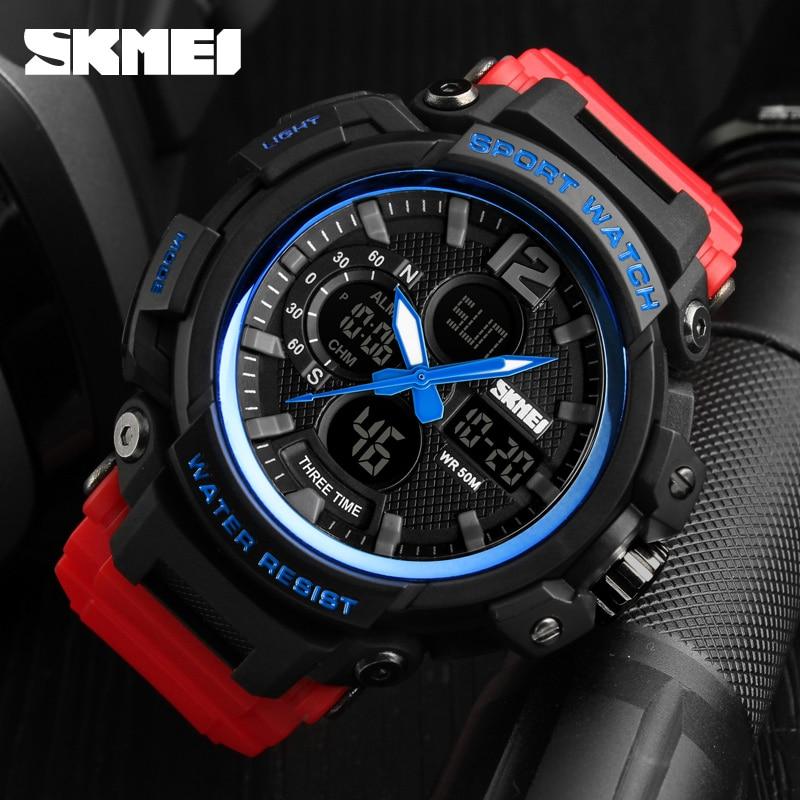 SKMEI 2018 Mężczyźni Wielofunkcyjne LED kwarcowe cyfrowe zegarki 3 - Męskie zegarki - Zdjęcie 3