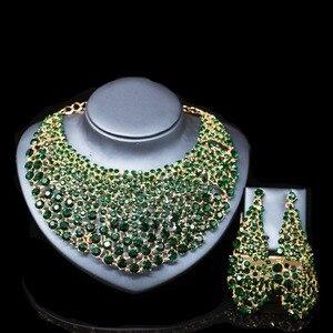 Image 1 - LAN 宮殿新ファッションブライダルネックレスマリアージュナイジェリアパーティーゴールドセットインドためのネックレスとイヤリングジュエリー送料無料