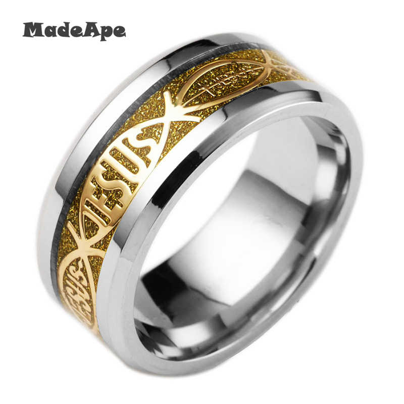 MadApe Big Size 8mm Luminous Rings Women Stainless Steel Jesus Fluorescent Glowing Rings For Women Wedding Accessories