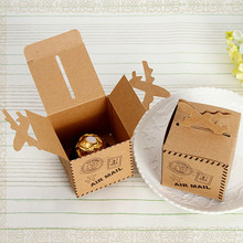 20Pcs/lot Candy Box With 3D Airplane Kraft Paper Baby Shower Party Favor Pack Topper Brown Foldable DIY Vintage Decoration
