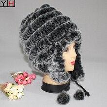 Зимняя Новинка, женская меховая Защитная шляпа с ушками, зимняя натуральный мех кролика Рекс, женская меховая шапка, женская теплая меховая шапка, розничная и