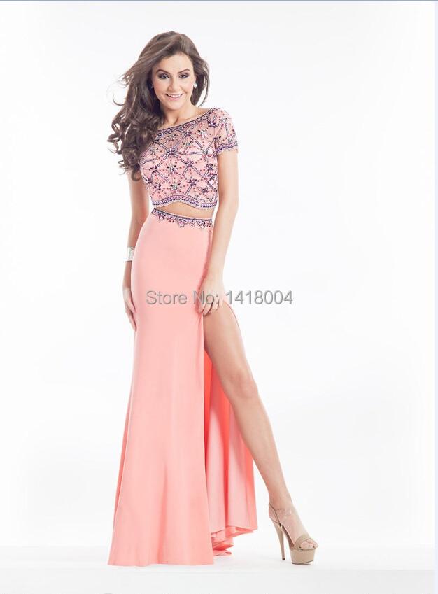 Baile vestidos largos de dos piezas Scoop pura vestido de noche sin ...