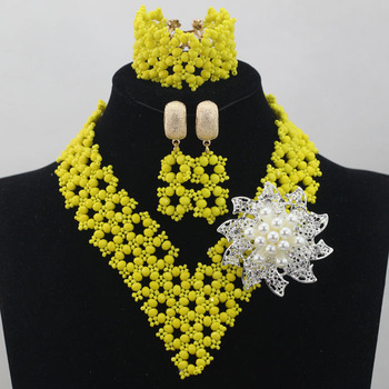 2016 Fashion Opaque Yellow African Crystal Beads V-Neck Necklace Set Nigerian Wedding African Beads Jewelry Free shipping ALJ679
