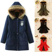 Fashion Winter Warm Women Cotton Faux Fur Hooded Jacket Slim Coat Parka Outwear
