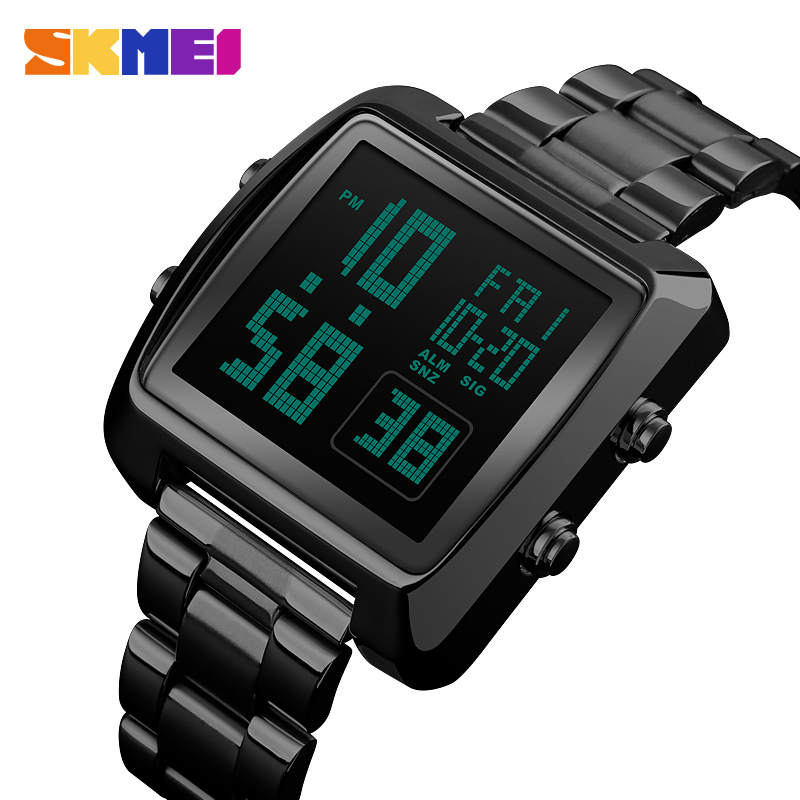Hot Brand SKMEI Men's Sports Watch 2018 New Full Steel Waterproof Electronic LED Digital Watches For Men Wristwatch Sport Clock 2018 new fashion original brand sport watch men watches skmei wristwatch gift 1 2 5 1 and 1 2 99 model only for vip gabriel