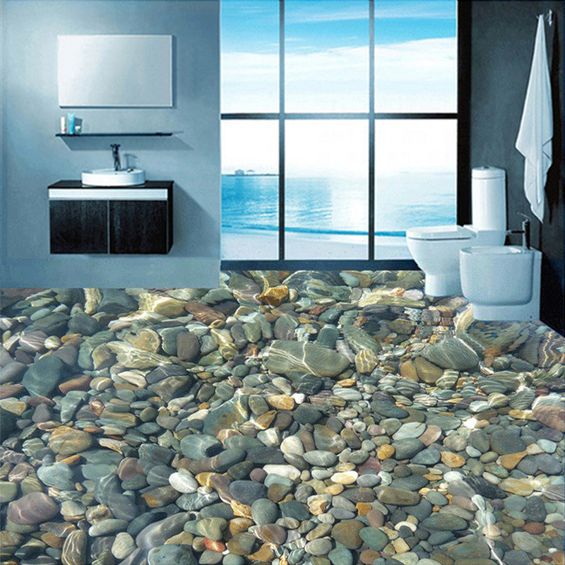 Custom Flooring Wallpaper 3D Lifelike Pebbles Living Room Bedroom Bathroom Floor Mural PVC Self-adhesive Wallpaper Wall Covering