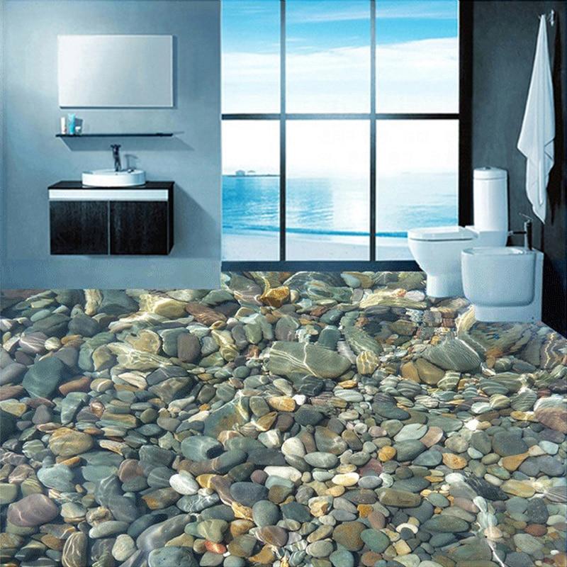 Custom Flooring Wallpaper 3D Lifelike Pebbles Living Room Bedroom Bathroom Floor Mural PVC Self-adhesive Wallpaper Wall Covering