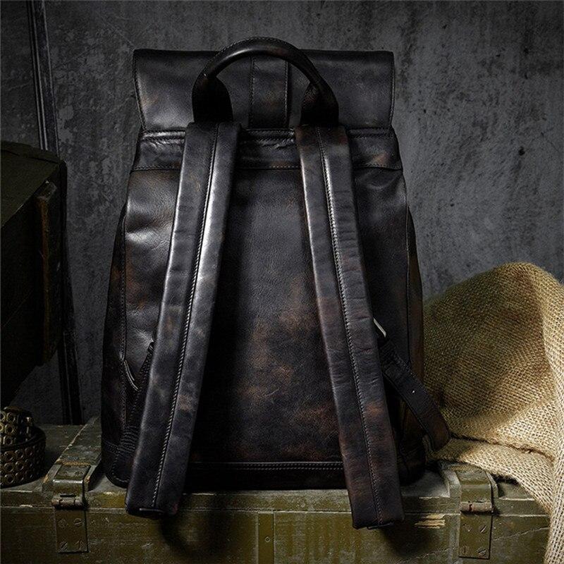 Di marca del cuoio genuino grandi zaini degli uomini di multi tasca zainetto collegio sacchetto dei bagagli di viaggio zainetto epoca fatti a mano bolsa - 6