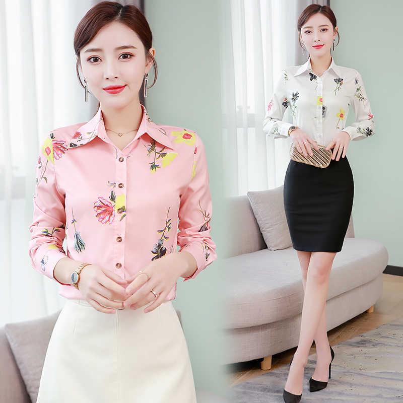 קוריאני אופנה כותנה נשים חולצות פרחוני תורו למטה צווארון ורוד נשים חולצות בתוספת גודל XXXL/5XL לבן נשים חולצות וחולצות
