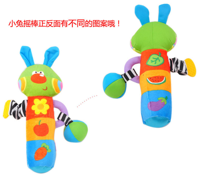 Book cloth rabbit roll bar bb teethers stick handbell baby toy 1